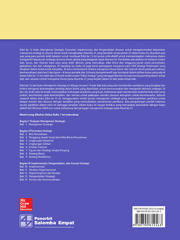 Manajemen Strategis: Formulasi-Implementasi dan Pengendalian Edisi 12 Buku 1/ Pearce