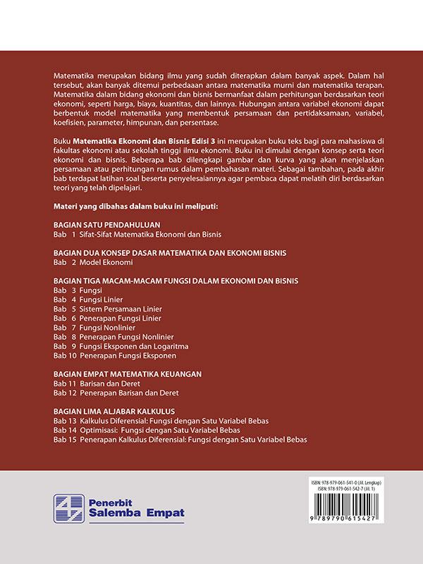 Matematika Ekonomi dan Bisnis Edisi 3 Buku 1/Josep B.Kalangi