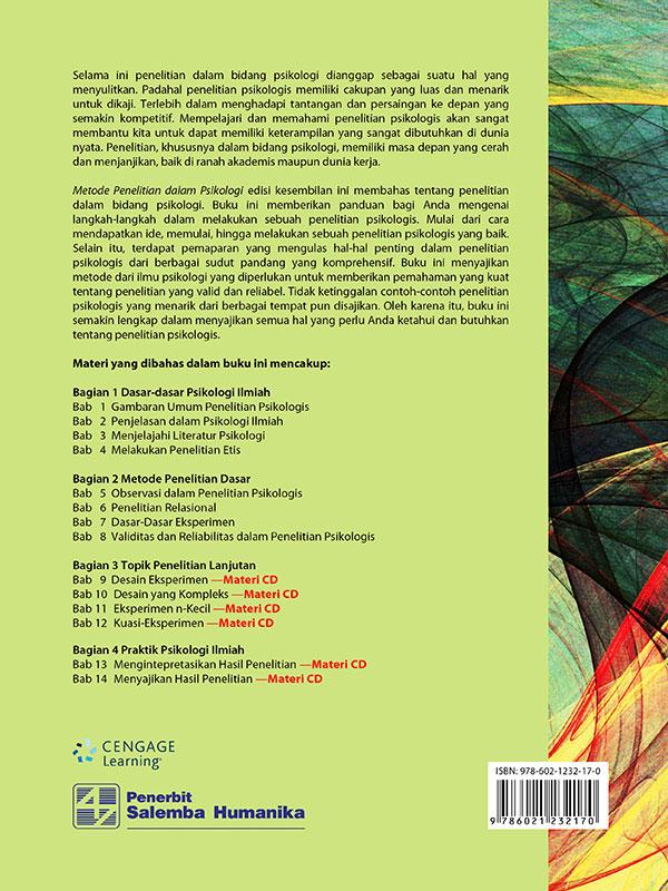 Metode Penelitian dalam Psikologi Edisi 9-CD Book/Elmes